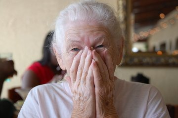 grandma gets surprised and exited