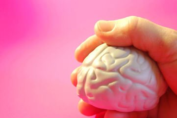 hand holding a brain on a pink background