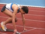 an athlete preparing to run