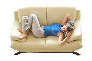 woman on the couch sleeping and dreaming