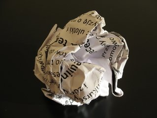 crumpled paper after a mistake